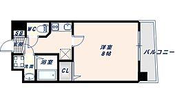 アドバンス大阪フェリシア 7階1Kの間取り