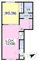 札幌市営東西線 南郷18丁目駅 徒歩23分の賃貸マンション 1階1LDKの間取り