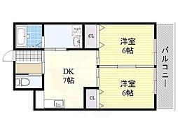 新住之江マンション 5階2DKの間取り