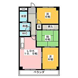 愛知県名古屋市西区中小田井5丁目の賃貸マンションの間取り