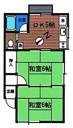 コーポツインハウス・A[102号室]の間取り
