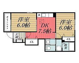 京成本線 志津駅 徒歩19分の賃貸アパート 1階2DKの間取り