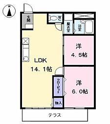 愛知県海部郡大治町大字西條字坂牧島の賃貸アパートの間取り