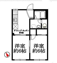 神奈川県横浜市南区永田南2丁目の賃貸アパートの間取り