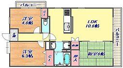 タウンハウス芦屋川[3階]の間取り