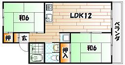 福岡県北九州市八幡西区光貞台3丁目の賃貸アパートの間取り