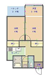 野積の里リゾートマンションC棟 2階2DKの間取り
