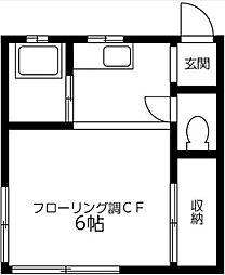 神奈川県秦野市鶴巻北1丁目の賃貸アパートの間取り