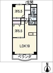 パレス蟹江[2階]の間取り