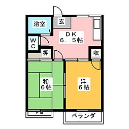 ハイツ森本B棟[1階]の間取り