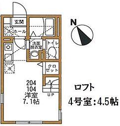 神奈川県横須賀市追浜東町2丁目の賃貸アパートの間取り