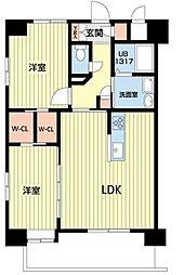熊本電気鉄道 北熊本駅 徒歩5分の賃貸マンション 9階2LDKの間取り