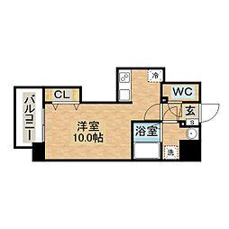 Apartment Grus Okamachi 5階ワンルームの間取り