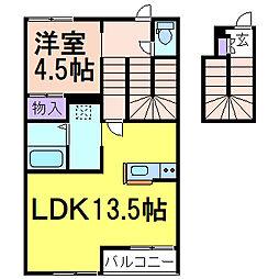 ラヴィーヌ中丸 2階1LDKの間取り
