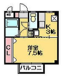 福岡県糟屋郡篠栗町大字田中の賃貸アパートの間取り