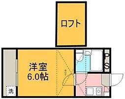 千葉県船橋市本中山1丁目の賃貸アパートの間取り