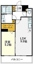 JR中央線 国立駅 徒歩9分の賃貸マンション 2階1LDKの間取り