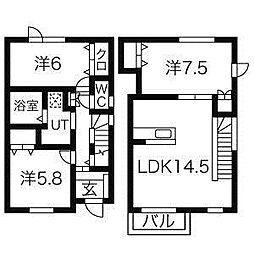 [テラスハウス] 北海道札幌市北区屯田八条2丁目 の賃貸【/】の間取り