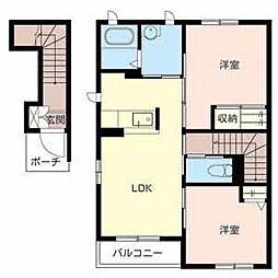 和歌山県和歌山市府中の賃貸アパートの間取り