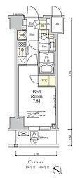 東京メトロ南北線 麻布十番駅 徒歩7分の賃貸マンション 10階1Kの間取り