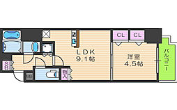 アーバンパーク梅田イースト 2階1LDKの間取り