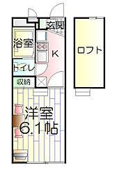 神奈川県川崎市多摩区南生田6丁目の賃貸アパートの間取り