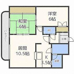 北海道札幌市豊平区美園四条8丁目の賃貸マンションの間取り