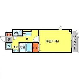 阪急千里線 山田駅 徒歩5分の賃貸マンション 3階1Kの間取り