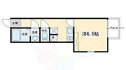グラン・ポレール長岡京 3階1Kの間取り
