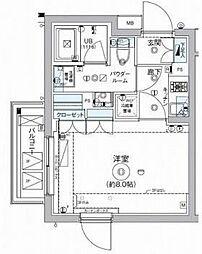 東急大井町線 自由が丘駅 徒歩15分の賃貸マンション 3階1Kの間取り