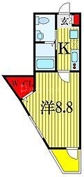 京成本線 大神宮下駅 徒歩5分の賃貸アパート 3階1Kの間取り