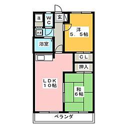 二番街田神[4階]の間取り