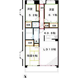 JR中央本線 三鷹駅 徒歩18分の賃貸マンション 2階3LDKの間取り