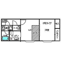 福岡県福岡市中央区大宮1丁目の賃貸アパートの間取り