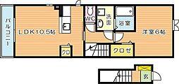 ラッフィナートカーサA棟[2階]の間取り