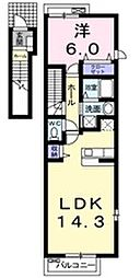 西武池袋線 東久留米駅 徒歩20分の賃貸アパート 2階1LDKの間取り