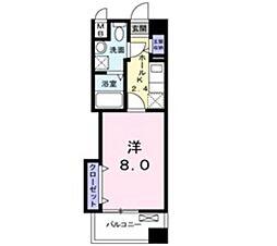 JR宇野線 大元駅 徒歩12分の賃貸マンション 4階1Kの間取り