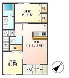 千葉県東金市北之幸谷の賃貸アパートの間取り