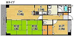 ライオンズマンション泉南樽井 3階2SLDKの間取り