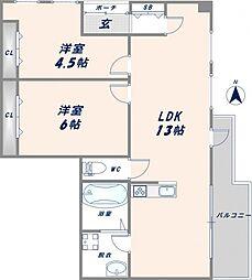 アルテハイム東大阪[4階]の間取り