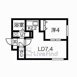 札幌市営東西線 菊水駅 徒歩6分の賃貸マンション 1階1LDKの間取り