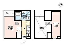 名古屋市営東山線 岩塚駅 徒歩2分の賃貸アパート 2階1SKの間取り