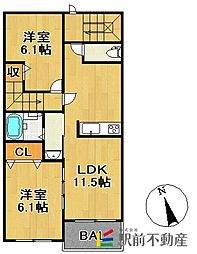 コーエー アビタシオン[3階]の間取り