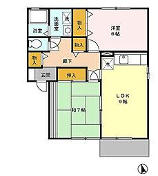プレミール B棟[1階]の間取り