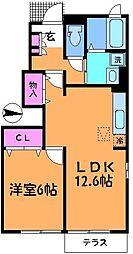 東京都調布市国領町3丁目の賃貸アパートの間取り