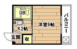 広島県広島市南区宇品御幸3丁目の賃貸マンションの間取り