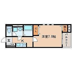 JR東海道本線 東静岡駅 徒歩6分の賃貸マンション 1階1Kの間取り