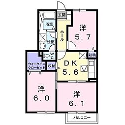 コ−トヤ−ド20[1階]の間取り