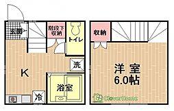 神奈川県相模原市中央区淵野辺1丁目の賃貸アパートの間取り