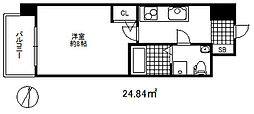 セレニテ三宮プリエ 5階1Kの間取り